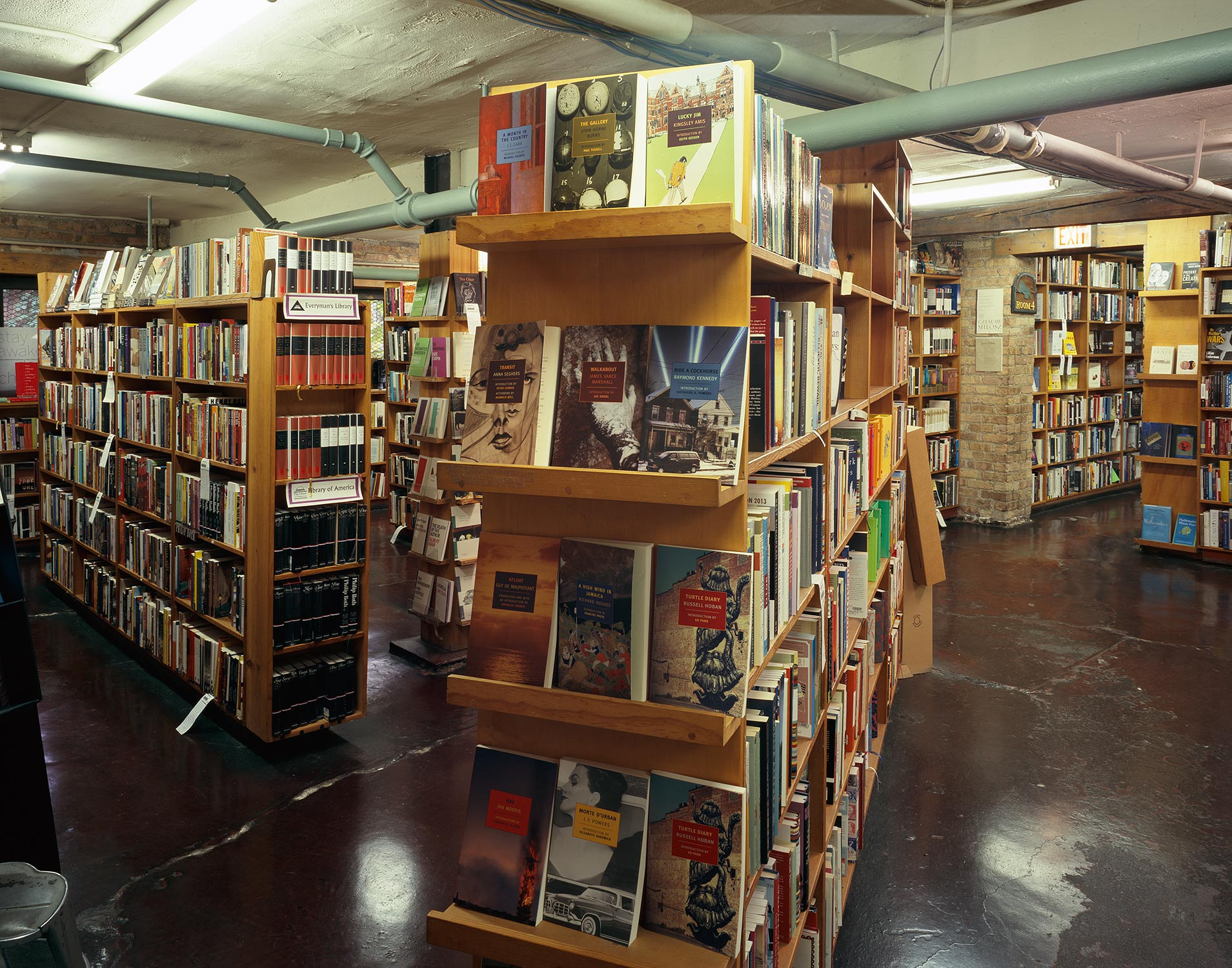 Bookshelves and Pipes, 57th Street Bookstore, Chicago