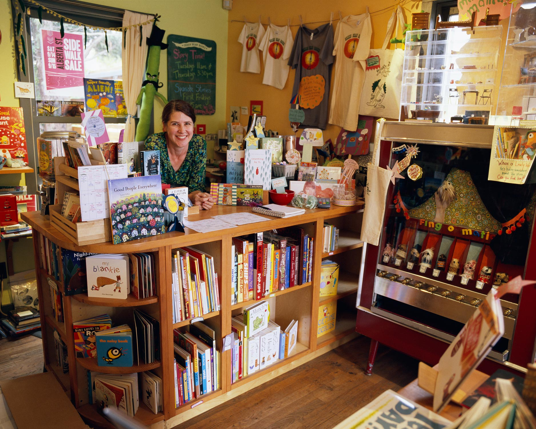 Jennifer behind the Counter, Green Bean Books, Portland, Oregon